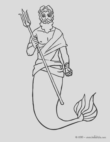 king triton with is trident coloring page