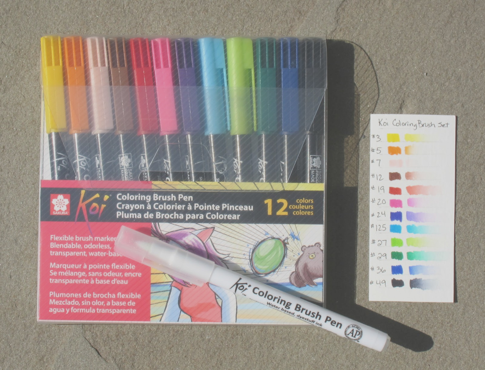 koi coloring brush pens review
