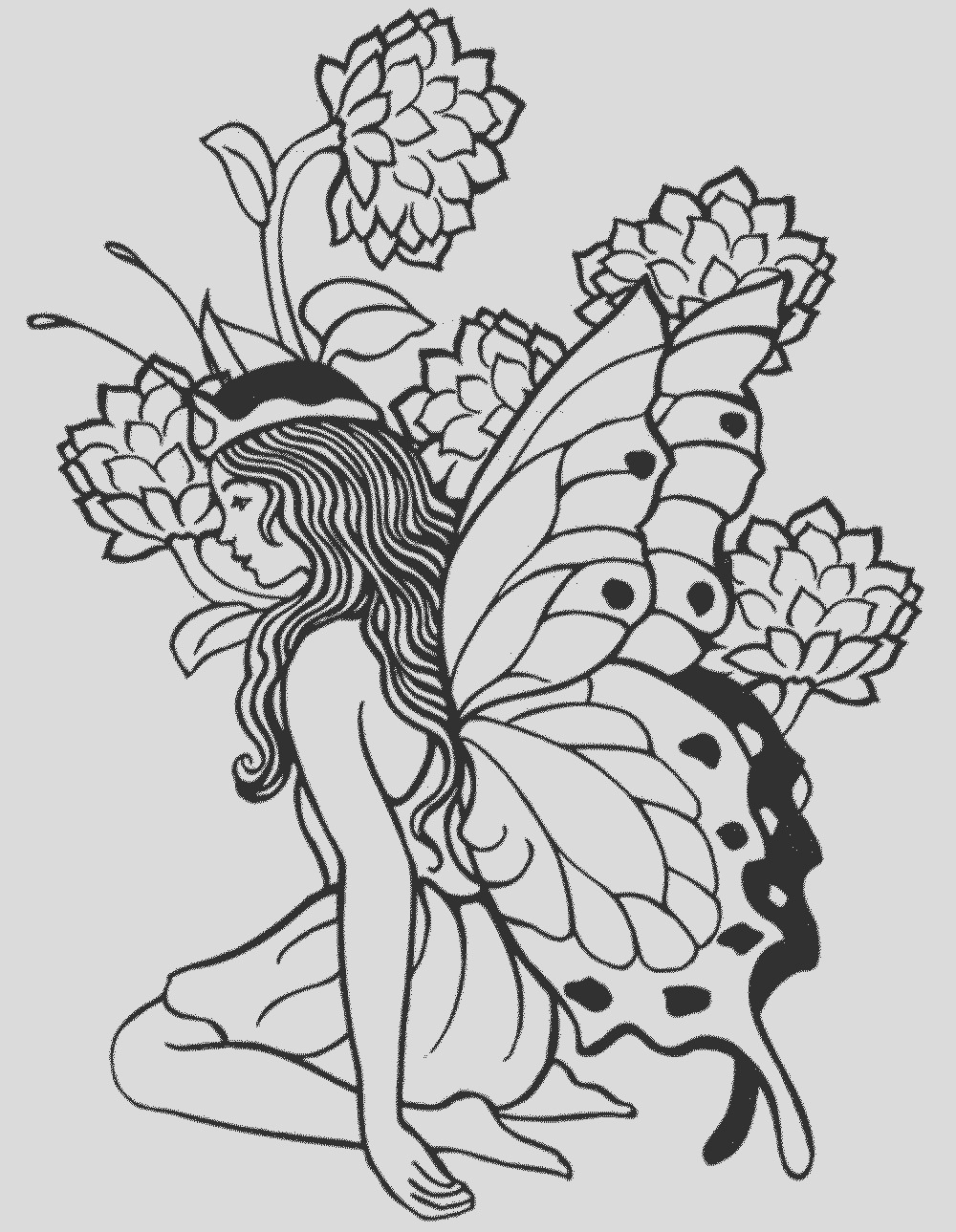 printable fairy coloring pages for adults