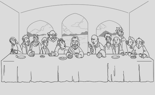 jesus and his disciples share a meal in the last supper coloring page
