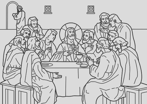 jesus shared dipped bread to judas in the last supper coloring page
