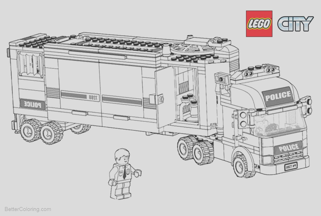 lego city coloring pages police truck