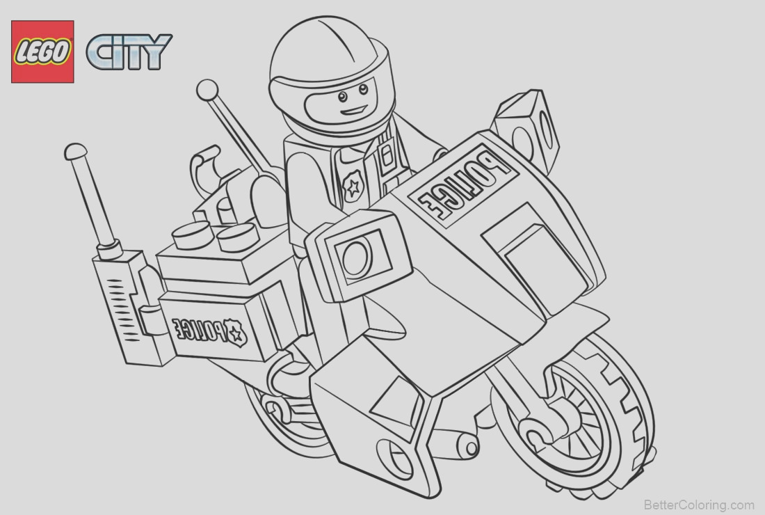 lego city coloring pages police with motorcycle
