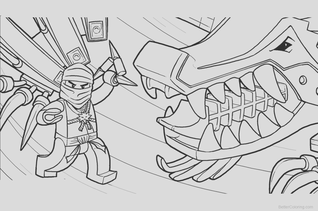 lego ninjago coloring pages with dinosaur
