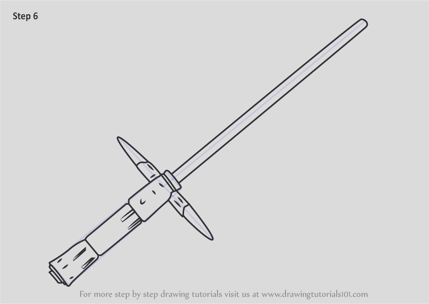 how to draw kylo rens lightsaber from star wars