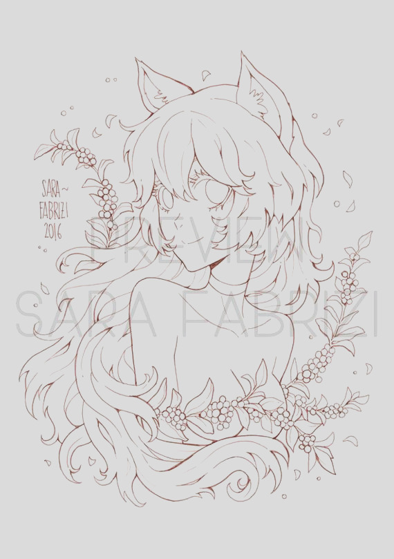 fox girl lineart for coloring