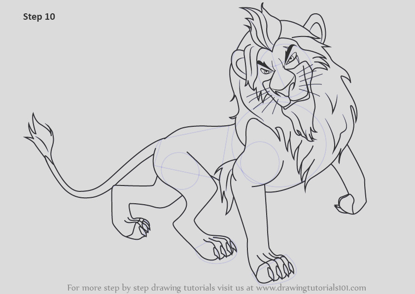 how to draw scar from the lion king step by step