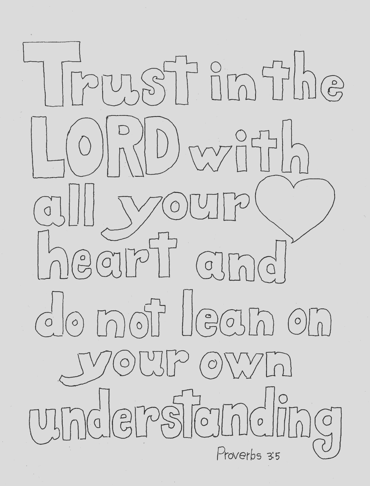 trust in lord scripture print and color