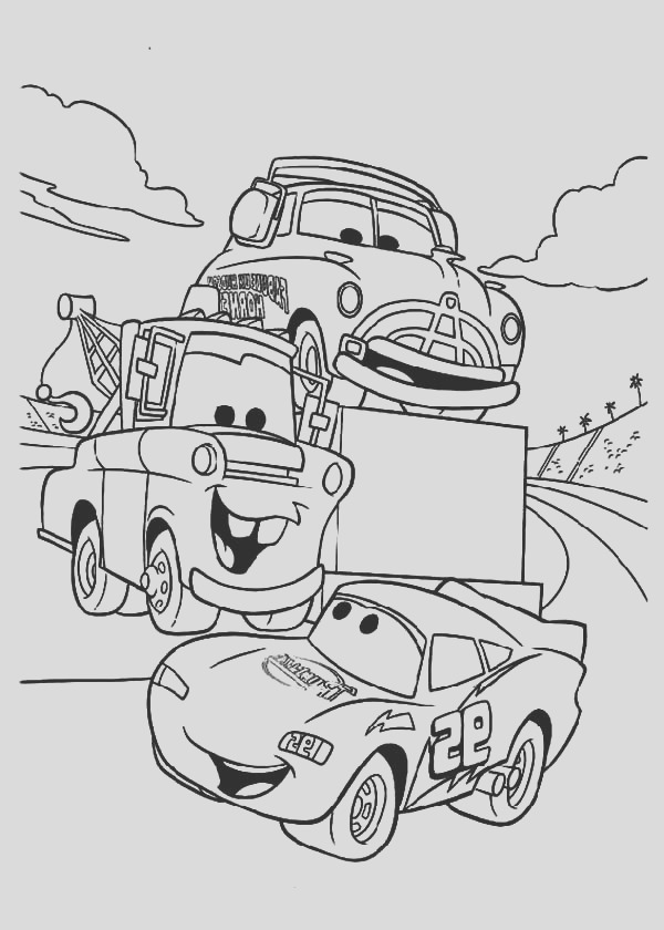 tow mater say hallo to mcqueen coloring pages