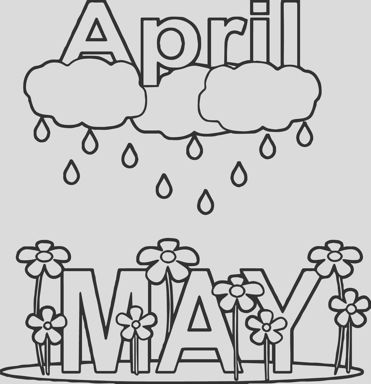 april shower may rain flower coloring page