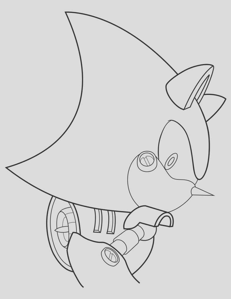 coloring page 2 Metal Sonic