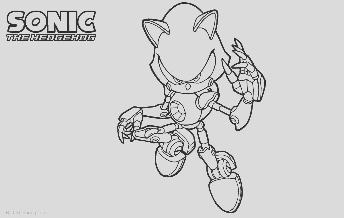 metal sonic the hedgehog coloring pages