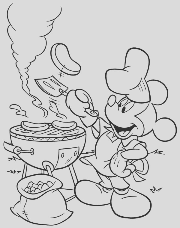 mickey doing a barbecue in mickey mouse clubhouse coloring page