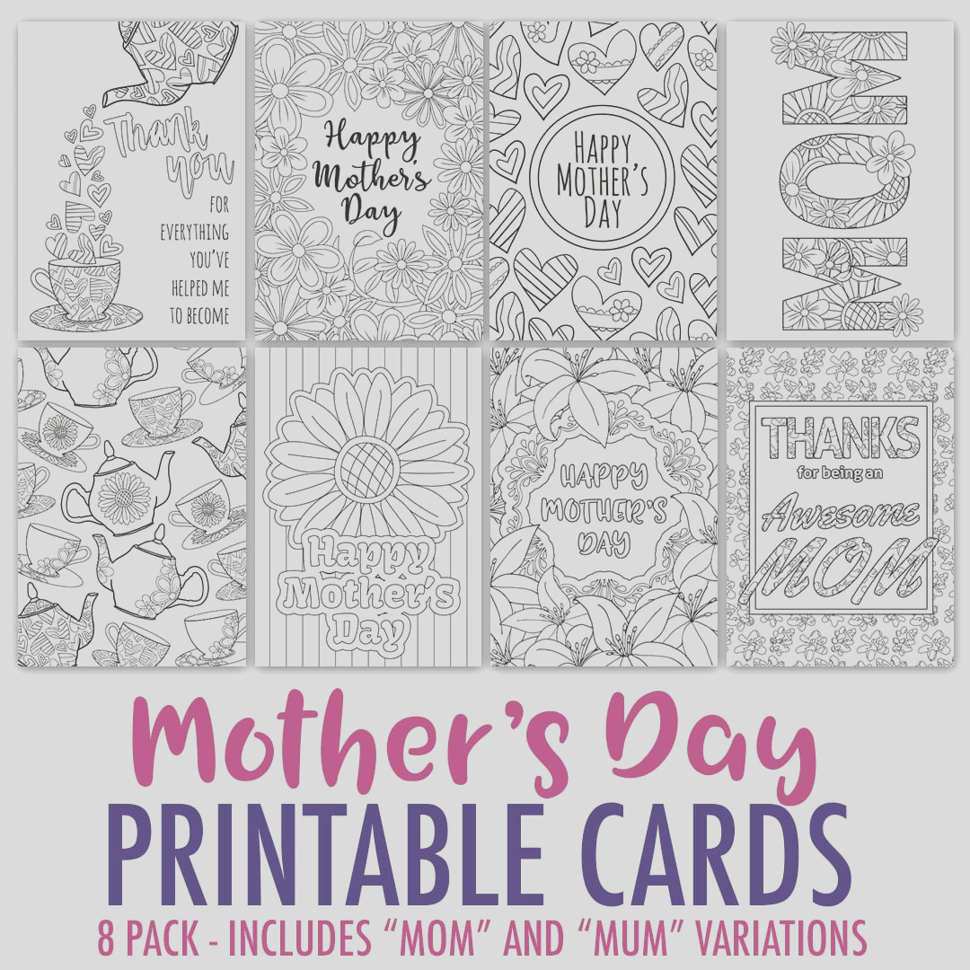 mothers day coloring cards 8 pack