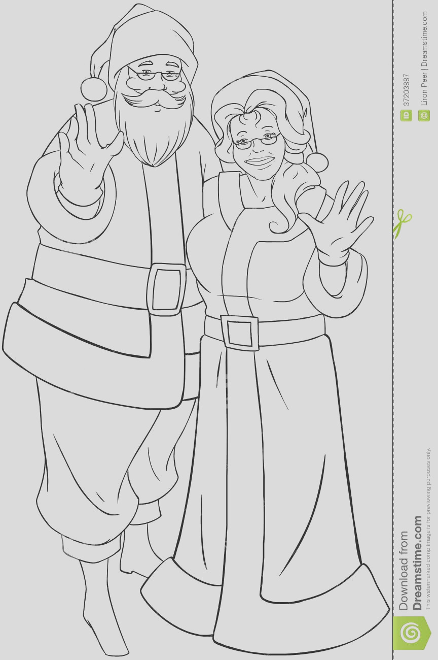 royalty free stock photography santa mrs claus waving hands christmas col vector illustration coloring page standing hugged their image