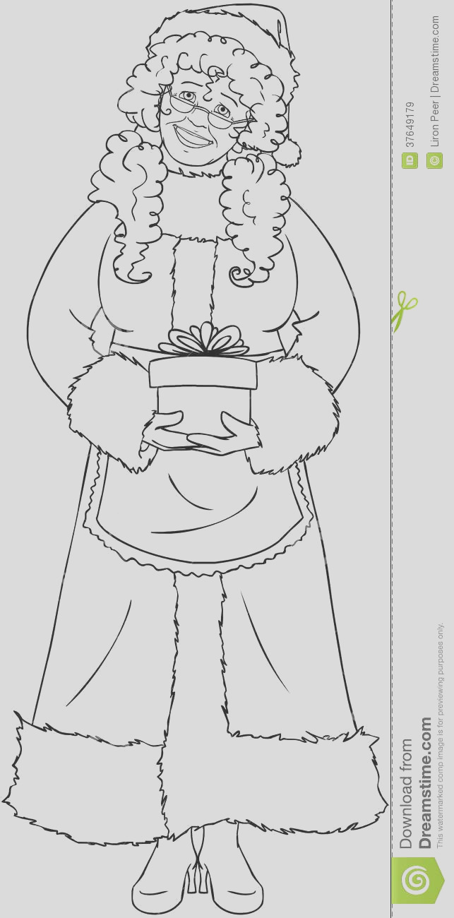 royalty free stock images mrs santa claus holding present coloring page image