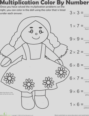 multiplication color by number doll 1