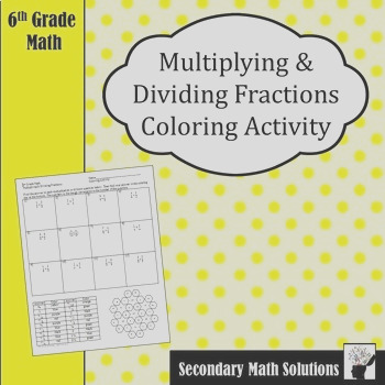 Multiplying and Dividing Fractions Coloring Activity 63D 63E 73A