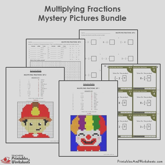 306 4th grade 4 multiplying fractions mystery pictures coloring worksheets task cards bundle