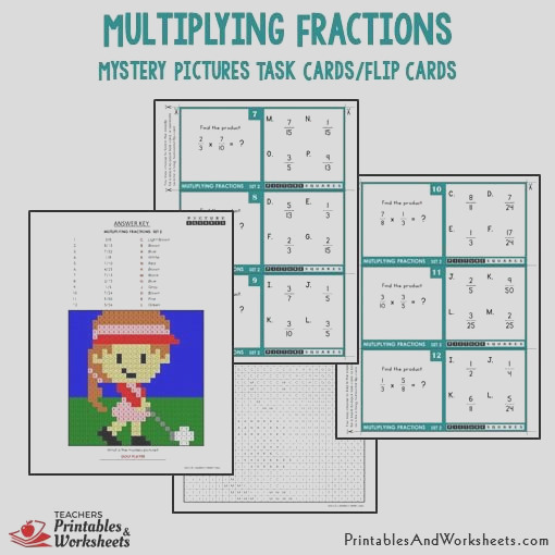 228 multiplying fractions mystery picture task cards with coloring worksheets