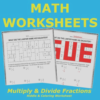 Multiply and Divide Fractions Riddle and Coloring Worksheet