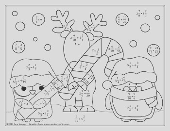 Multiplying and Dividing Fractions Christmas Color code Activity