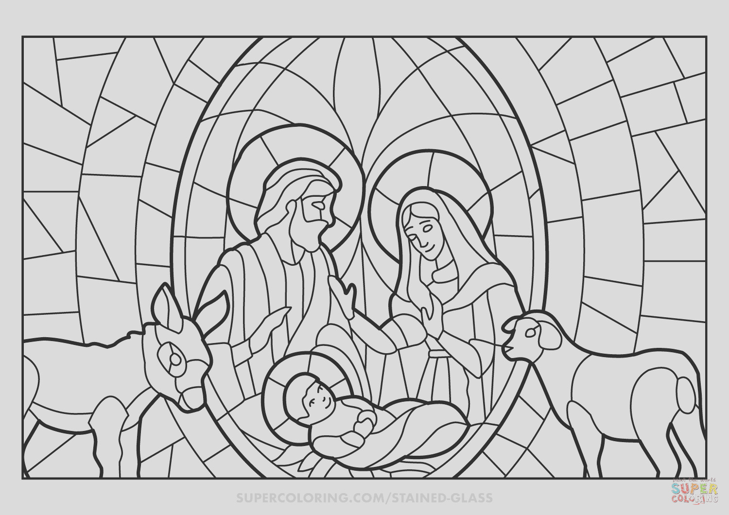 christmas nativity scene stained glass