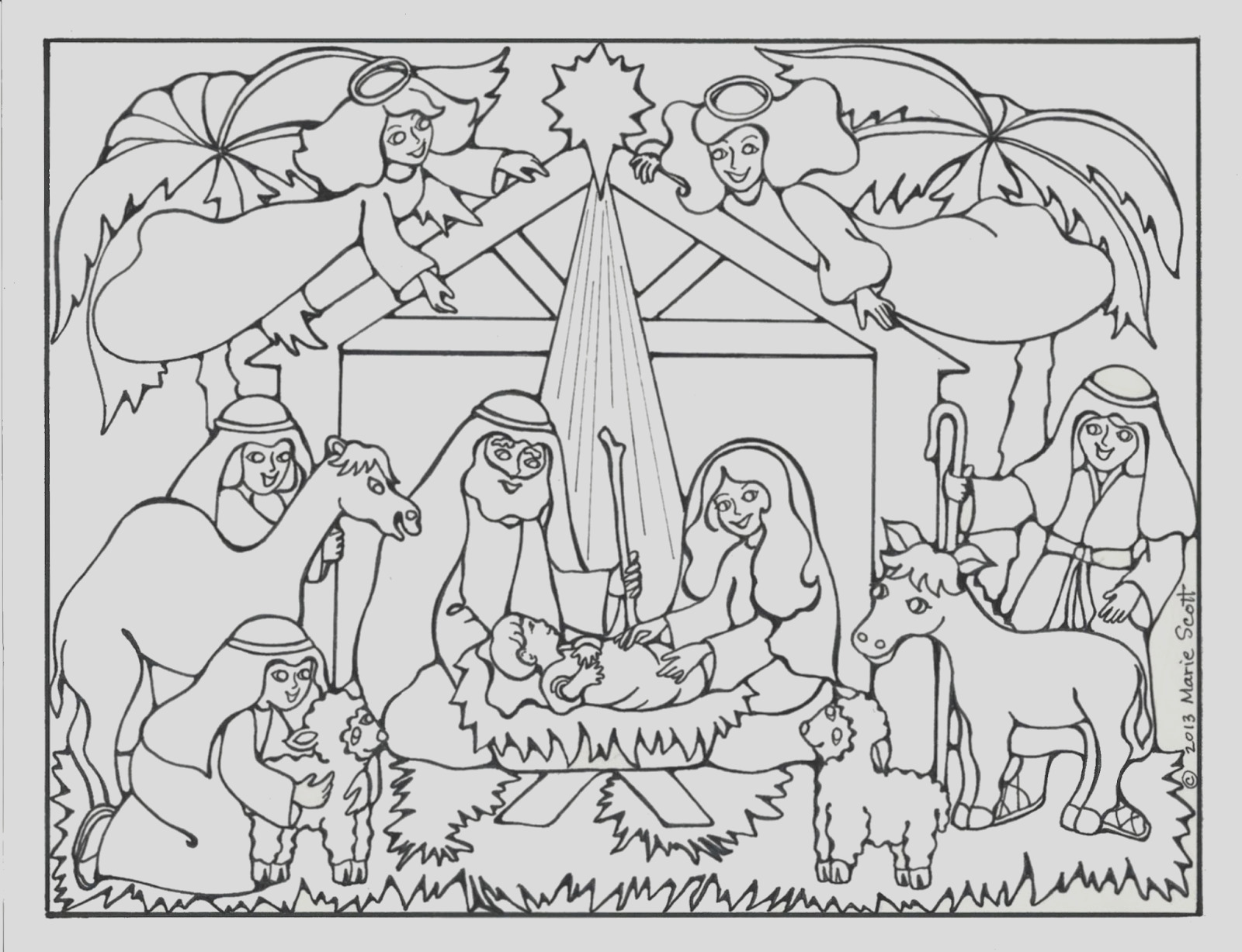 nativity coloring book page