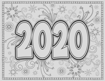 New Year 2020 Coloring Pages for Teens and Adults