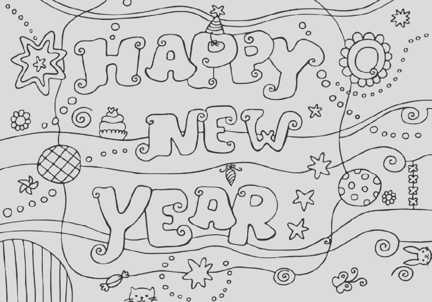 happy new year coloring pages free printable