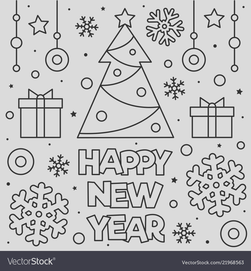 happy new year coloring page vector
