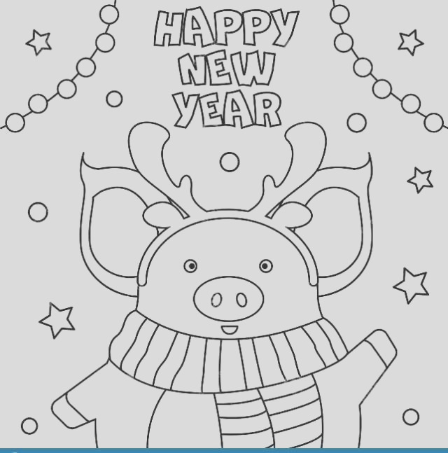 happy new year coloring pages 2020