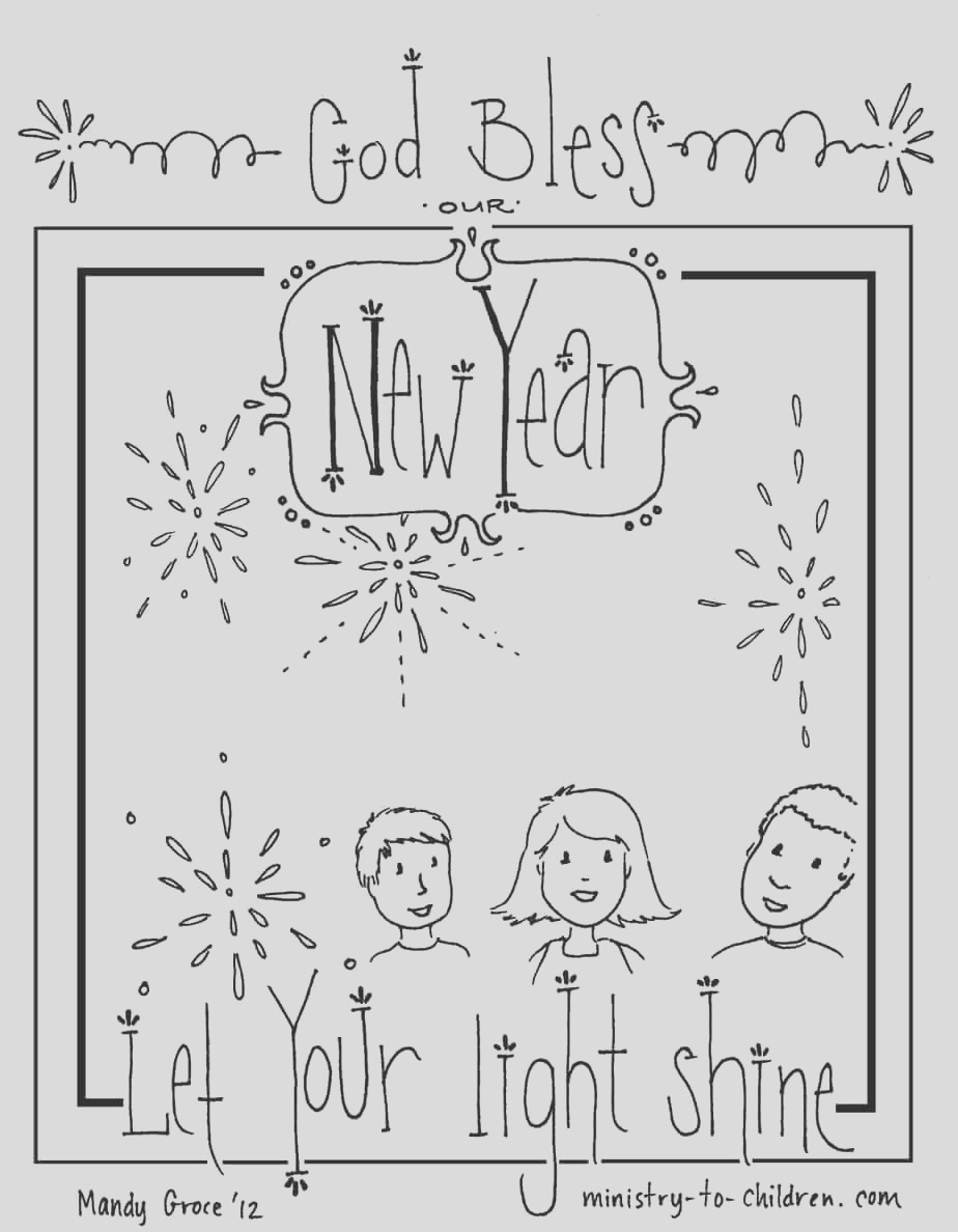 new years coloring page let your light shine