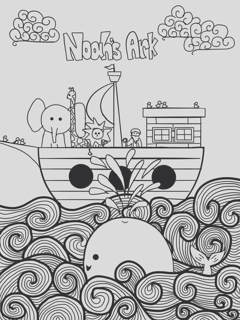 noahs ark printable coloring page for