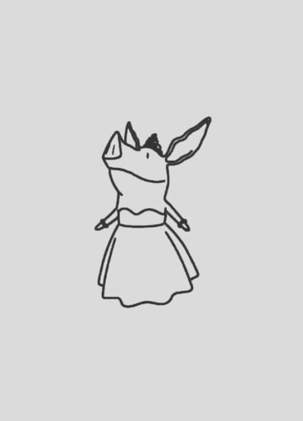 olivia the pig wearing gown coloring page 2
