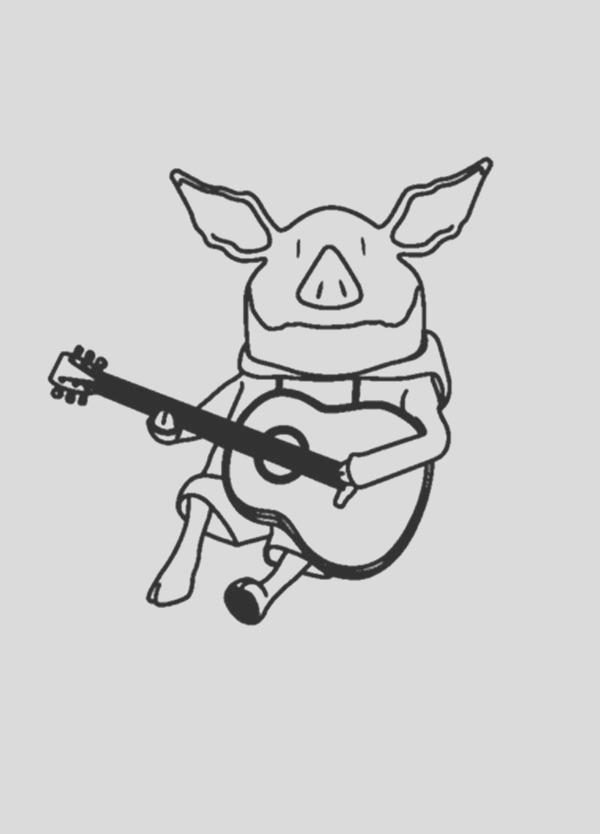 olivia the pig playing guitar coloring page