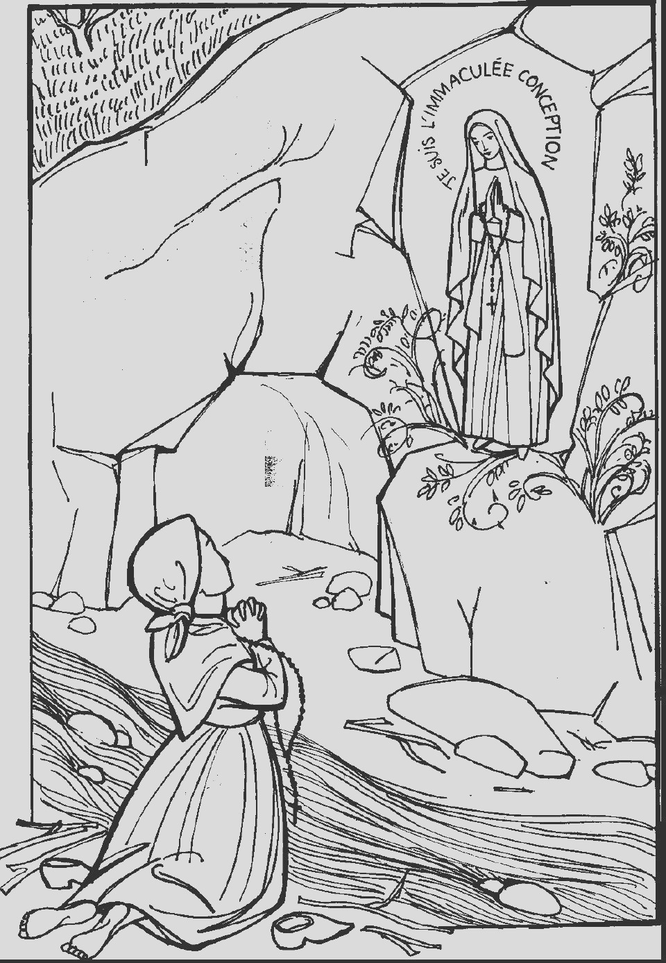 our lady of lourdes coloring page sketch templates