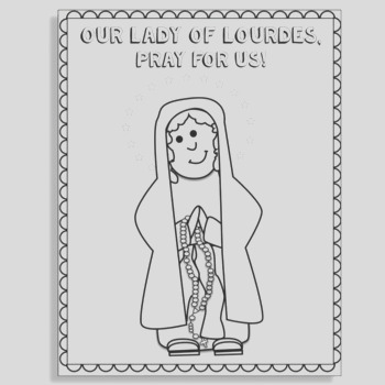 Our Lady of Lourdes Coloring Page FREEBIE