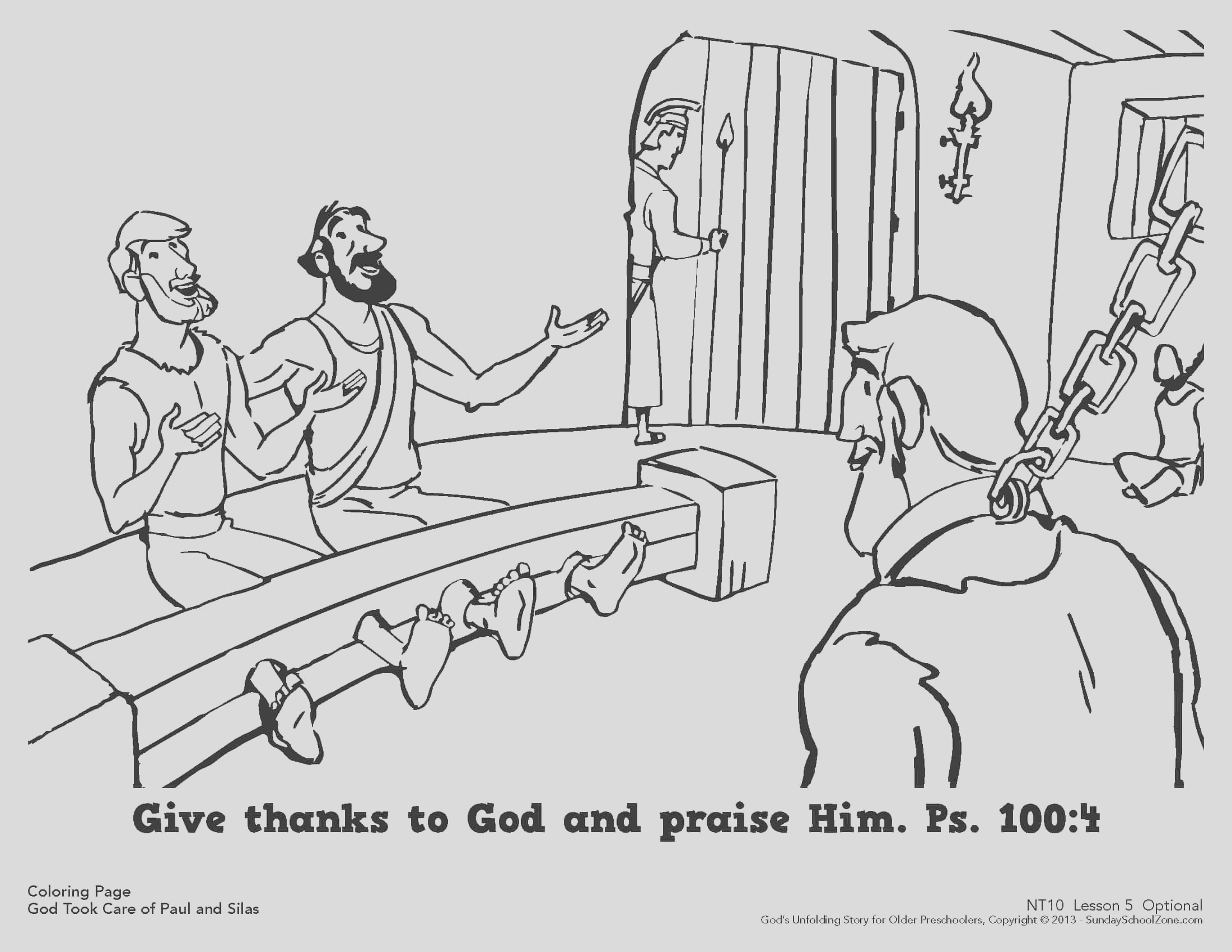 paul and silas were rescued from jail coloring page