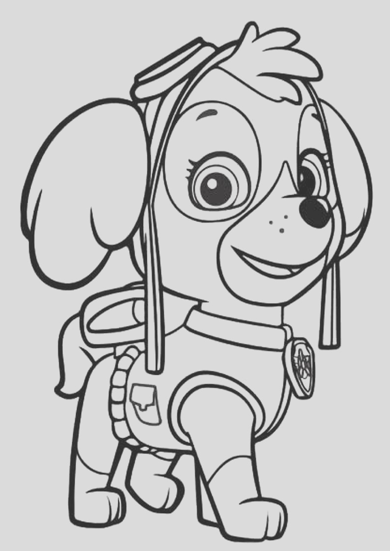 paw patrol everest coloring page sketch templates