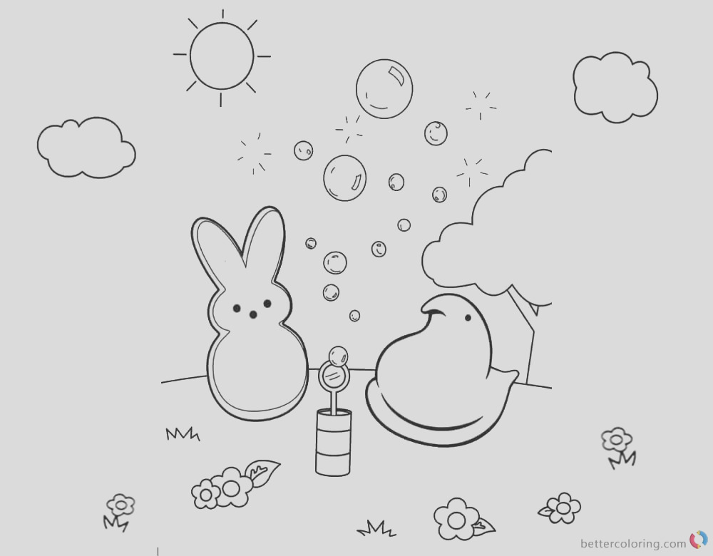 peeps coloring pages bunny playing bubbles