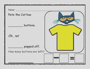 Pete the Cat Four Groovy Button Activity