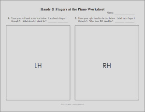 just added hands fingers at the piano worksheet