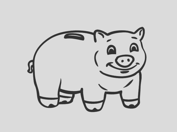 smiling piggy bank coloring page