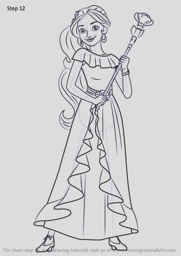 how to draw princess elena from elena of avalor step by step