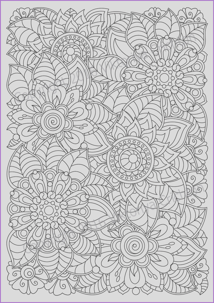 colouring page doodle flowers printable