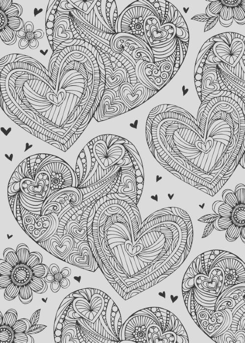 hearts love coloring pages for adults