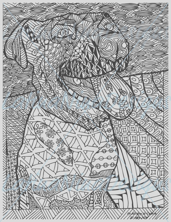 zentangle dog adult coloring page