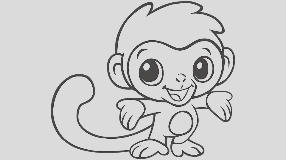 baby animal coloring pages monkey