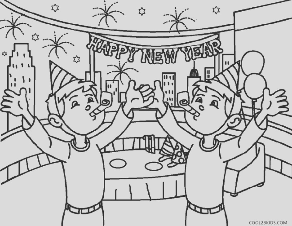 new years coloring pages free to print for kids